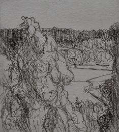 Tykky, 14x10 cm, viivasyövytys, 2018
