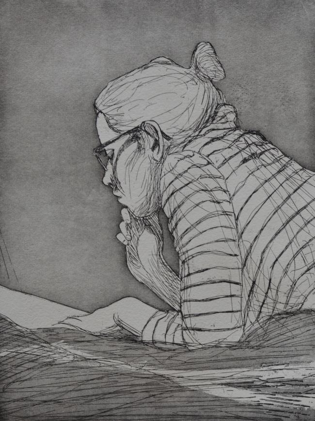 Lukija, 24 x 28 cm, viivasyövytys ja akvatinta, 2018