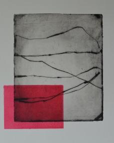 Punainen kulma, 20 x 14 cm, viivasyövytys ja monotypia, 2017